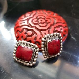 Sterling silver coral red cabochon earrings